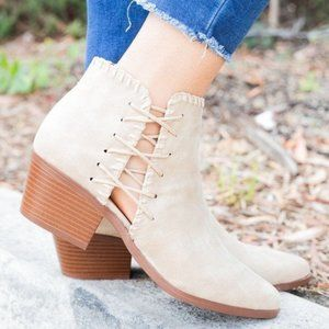 Shoes - Beige side stitch block heeled booties